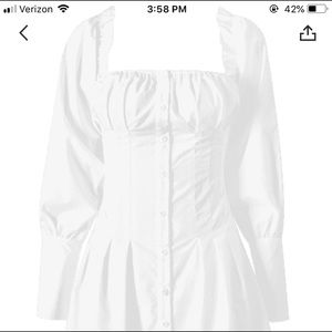 Dresses & Skirts - Beautiful white cotton square neck dress